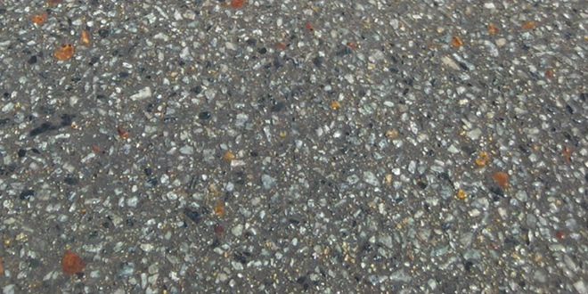 Special mix exposed aggregate concrete.